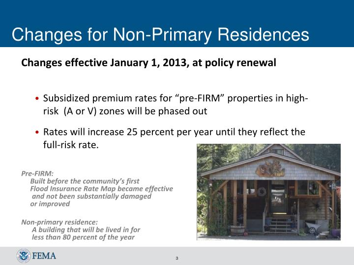 Changes for non primary residences
