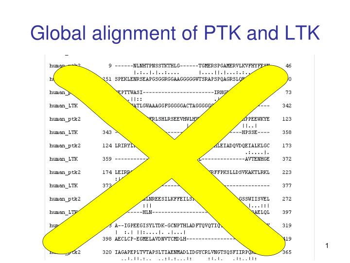 Global alignment of PTK and LTK