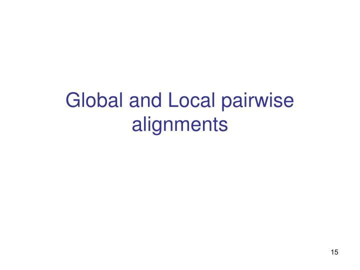 Global and Local pairwise alignments