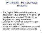 pam matrix p oint a ccepted m utations