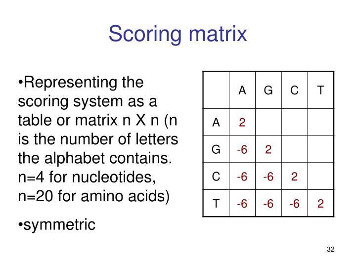 Scoring matrix