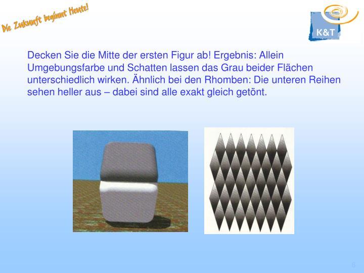 Decken Sie die Mitte der ersten Figur ab! Ergebnis: Allein Umgebungsfarbe und Schatten lassen das Grau beider Flächen unterschiedlich wirken. Ähnlich bei den Rhomben: Die unteren Reihen sehen heller aus – dabei sind alle exakt gleich getönt.