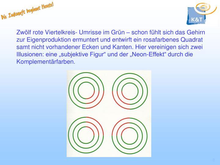 """Zwölf rote Viertelkreis- Umrisse im Grün – schon fühlt sich das Gehirn zur Eigenproduktion ermuntert und entwirft ein rosafarbenes Quadrat samt nicht vorhandener Ecken und Kanten. Hier vereinigen sich zwei Illusionen: eine """"subjektive Figur"""" und der """"Neon-Effekt"""" durch die Komplementärfarben."""