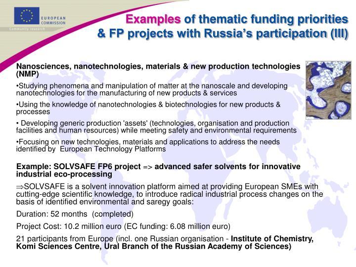 Nanosciences, nanotechnologies, materials & new production technologies (NMP)