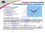 examples of thematic priorities fp projects with russia s participation i