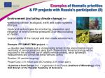 examples of thematic priorities fp projects with russia s participation ii