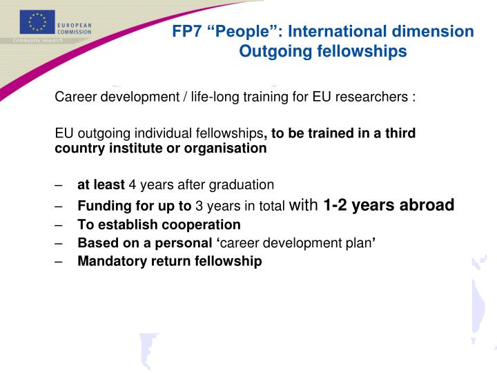 Career development / life-long training for EU researchers :