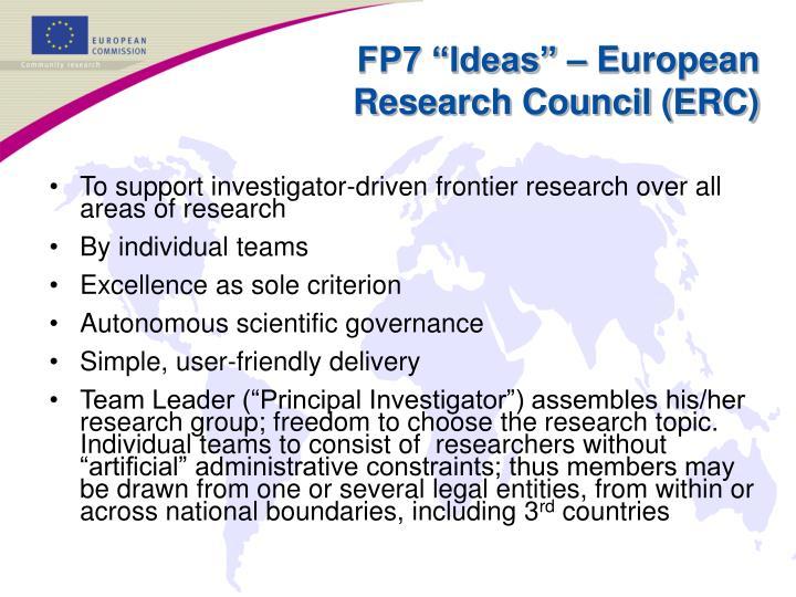 "FP7 ""Ideas"" – European Research Council (ERC)"