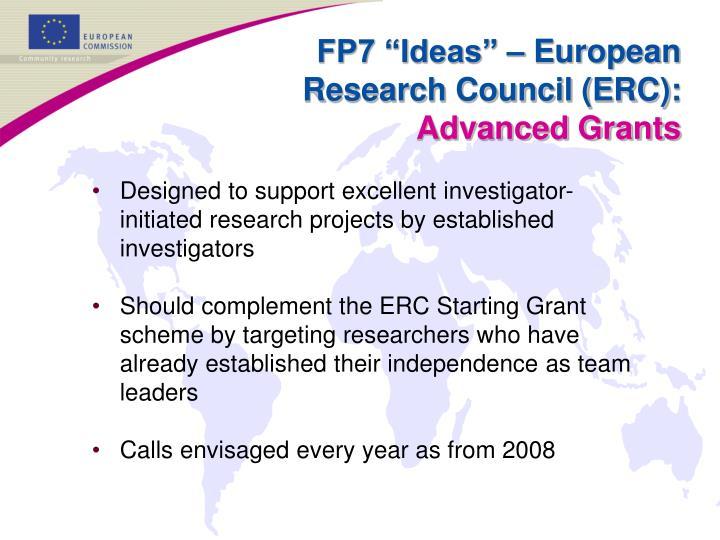 "FP7 ""Ideas"" – European Research Council (ERC):"
