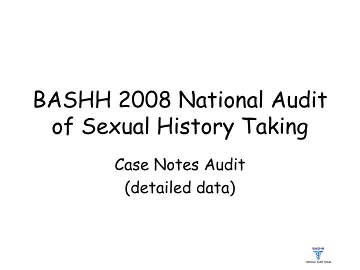 bashh 2008 national audit of sexual history taking