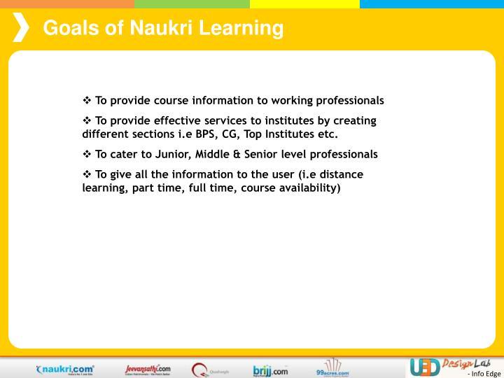 Goals of Naukri Learning