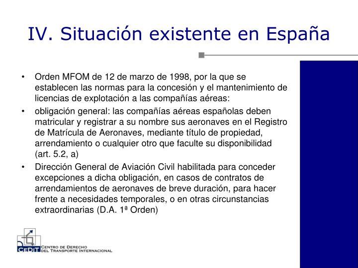 IV. Situación existente en España