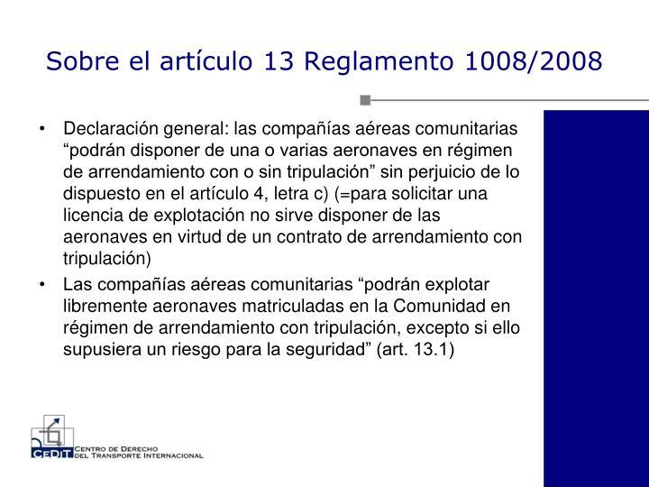 Sobre el artículo 13 Reglamento 1008/2008