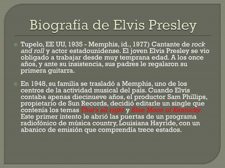 Biografía de Elvis