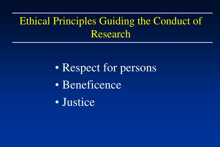 Ethical Principles Guiding the Conduct of Research