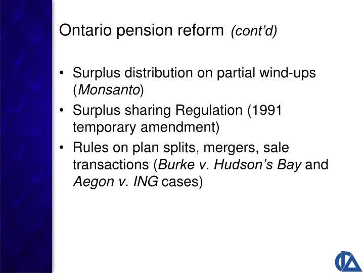 Surplus distribution on partial wind-ups (