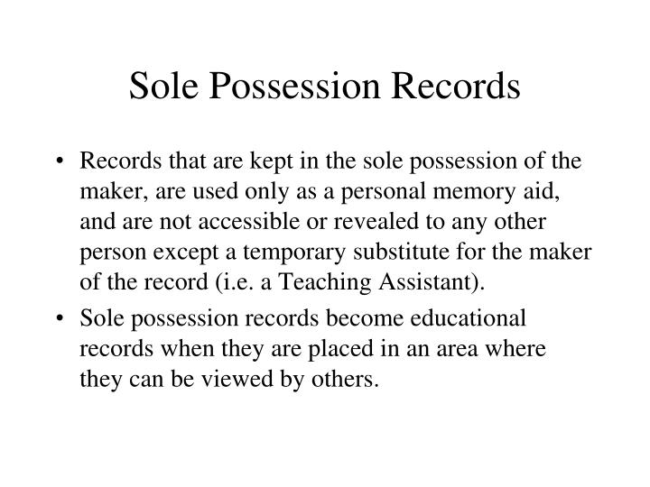 Sole Possession Records