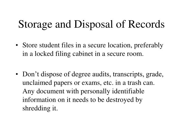 Storage and Disposal of Records