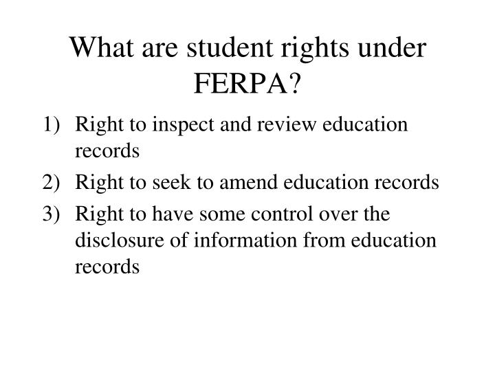 What are student rights under FERPA?
