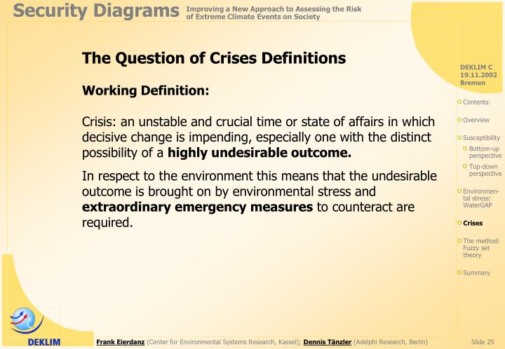 The Question of Crises Definitions