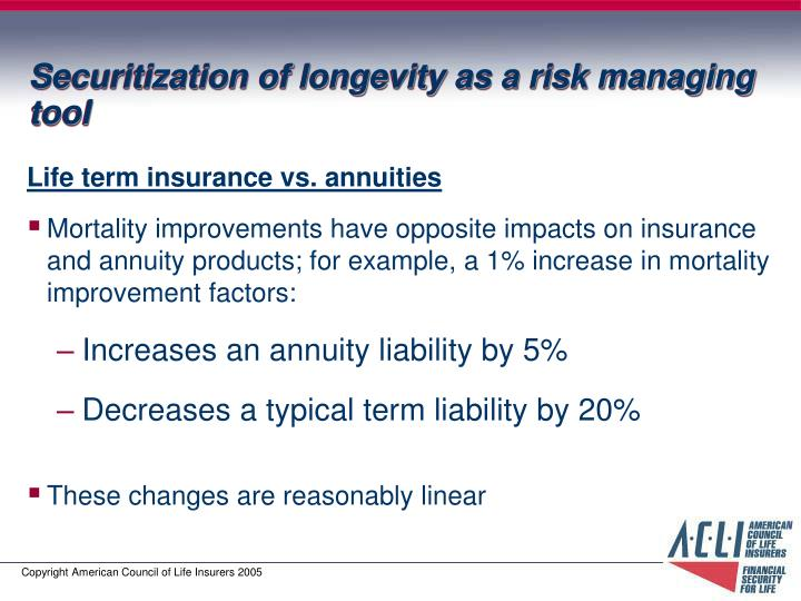 Securitization of longevity as a risk managing tool
