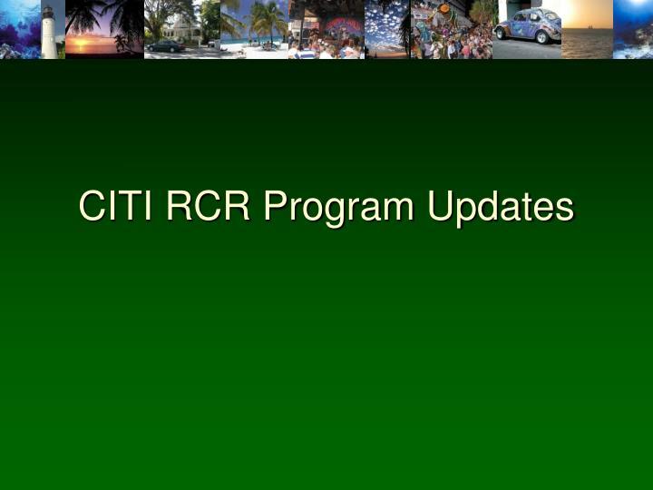 CITI RCR Program Updates