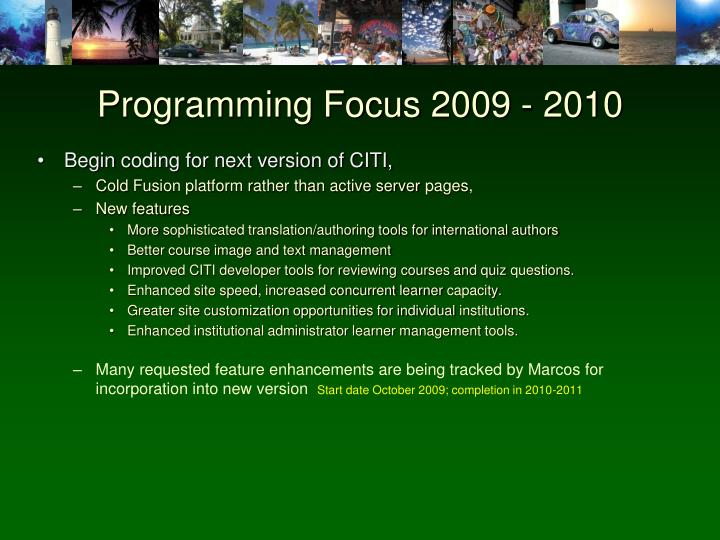 Programming Focus