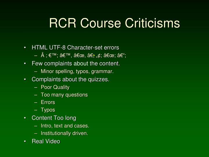 RCR Course Criticisms