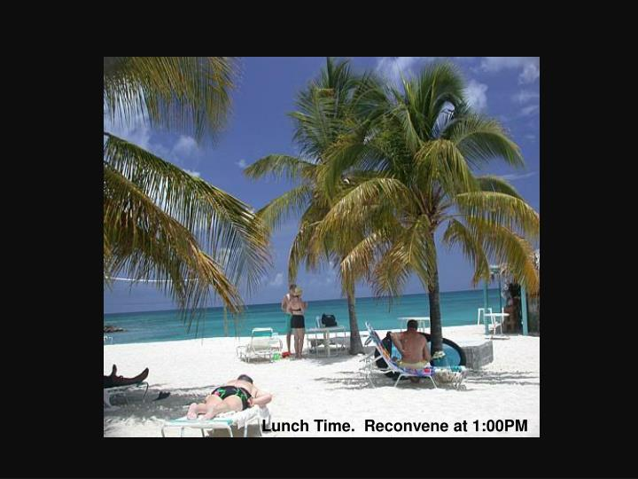 Lunch Time.  Reconvene at 1:00PM
