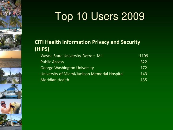 Top 10 Users 2009