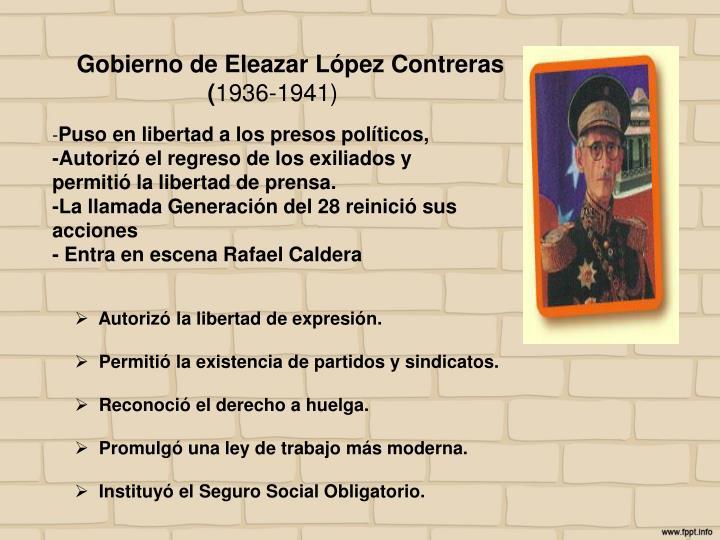 Gobierno de Eleazar López Contreras (