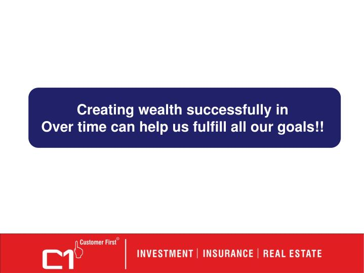 Creating wealth successfully in