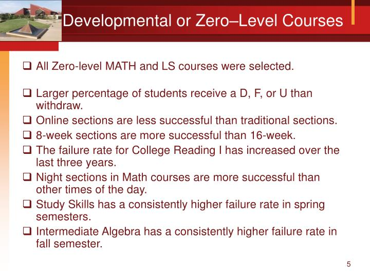Developmental or Zero–Level Courses