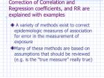 correction of correlation and regression coefficients and rr are explained with examples