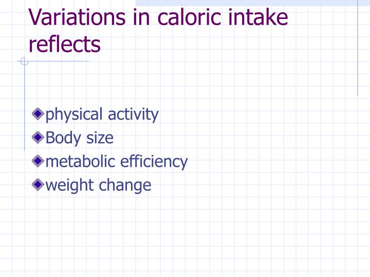 Variations in caloric intake reflects