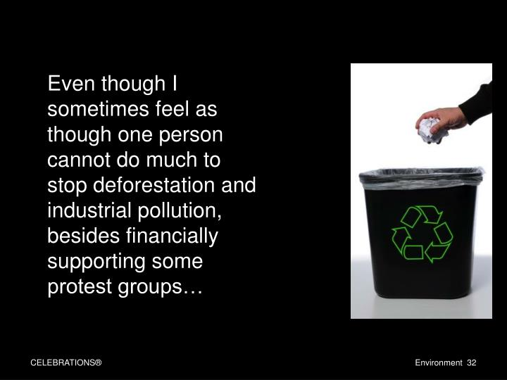 Even though I sometimes feel as though one person cannot do much to stop deforestation and industrial pollution, besides financially supporting some protest groups…