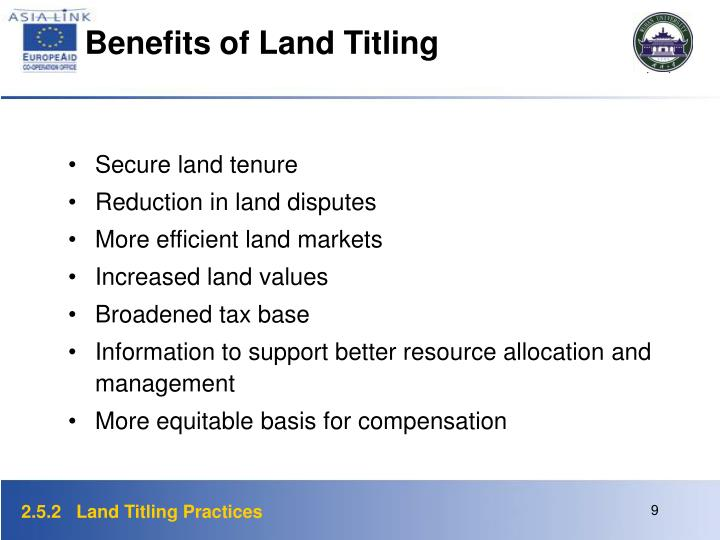 Benefits of Land Titling