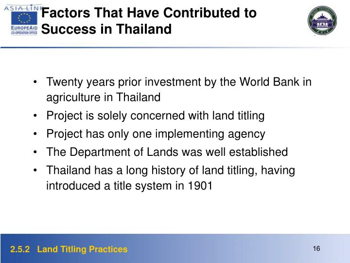 Factors That Have Contributed to Success in Thailand