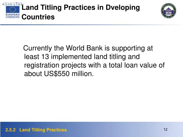 Land Titling Practices in Dveloping Countries