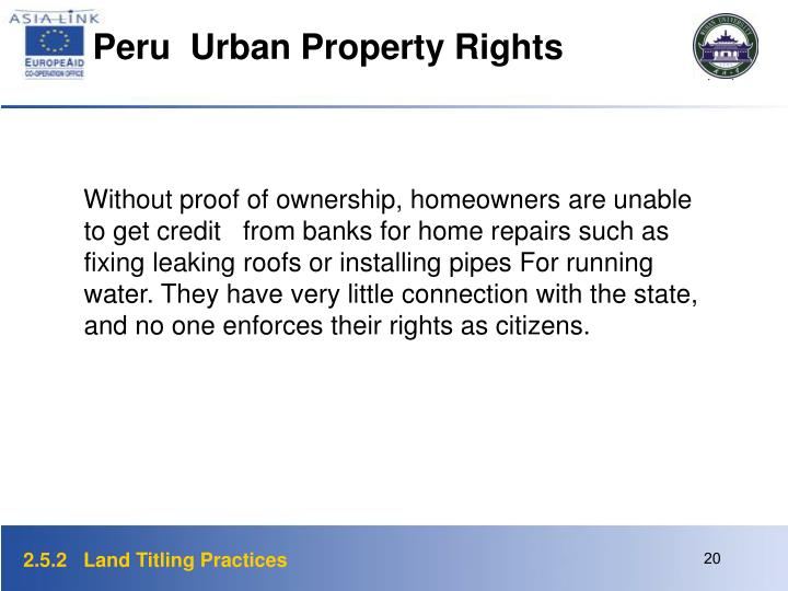 Peru  Urban Property Rights