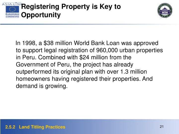 Registering Property is Key to Opportunity