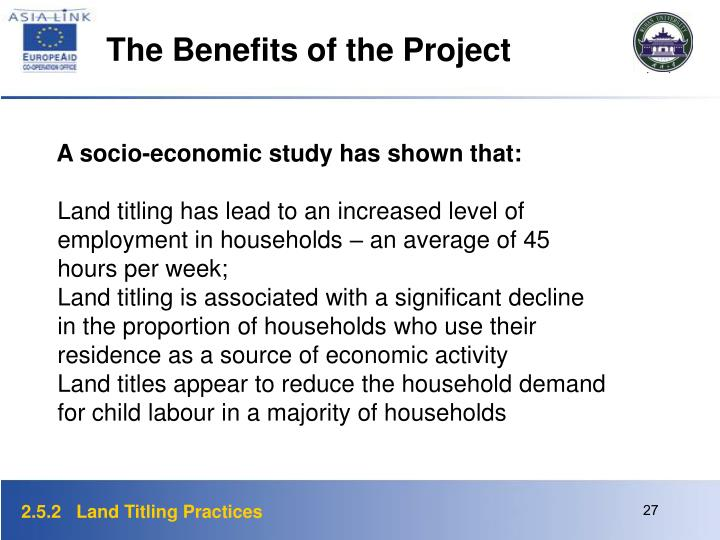 The Benefits of the Project