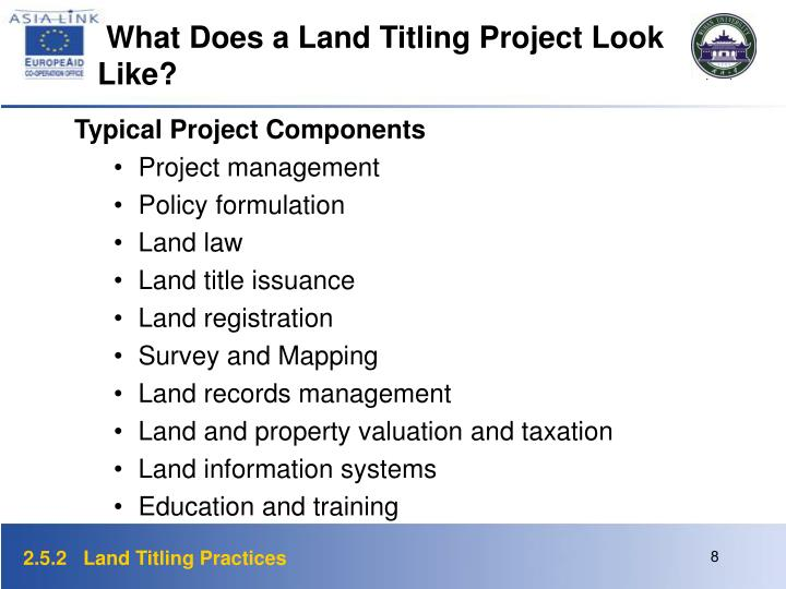 What Does a Land Titling Project Look