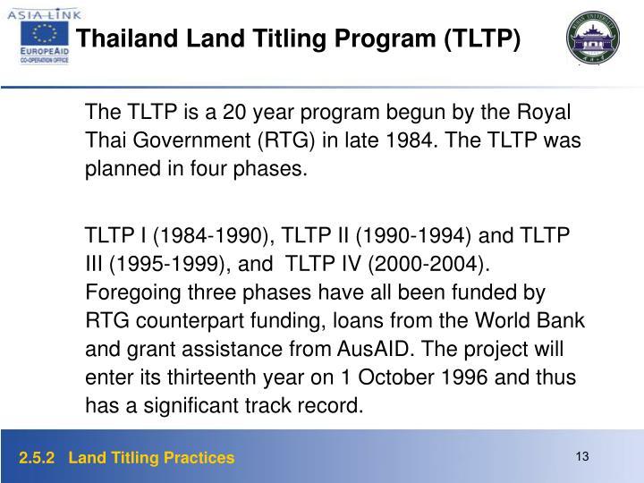 Thailand Land Titling Program (TLTP)