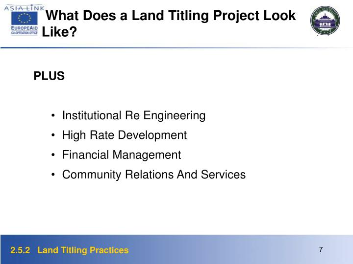 What Does a Land Titling Project Look Like?