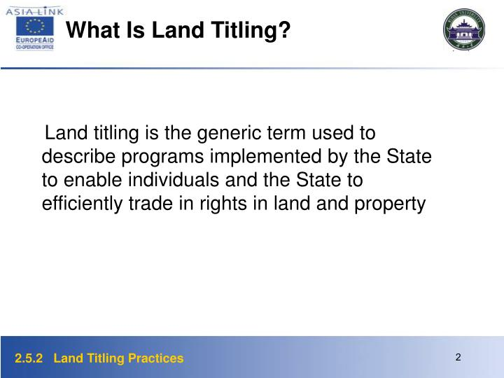 What Is Land Titling?