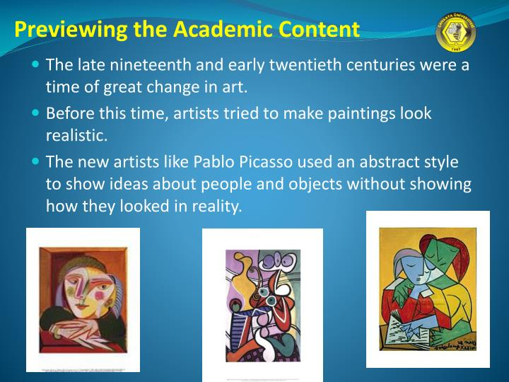 Previewing the Academic Content