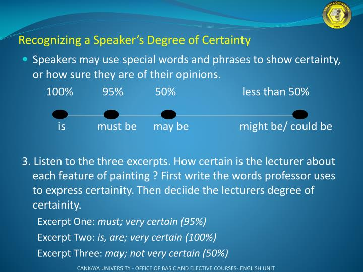 Recognizing a Speaker's Degree of Certainty