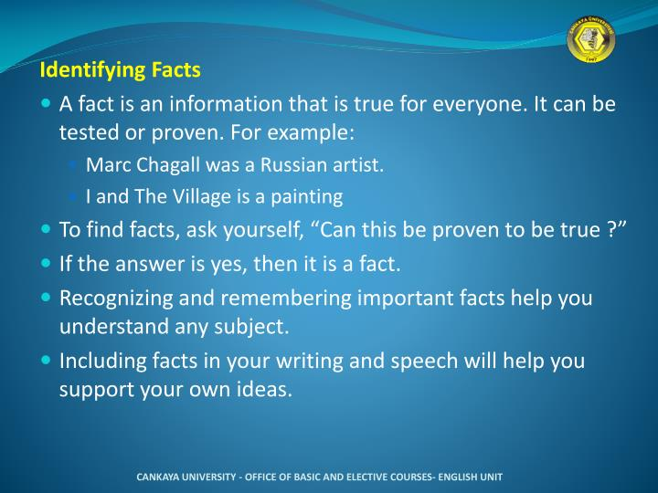 Identifying Facts