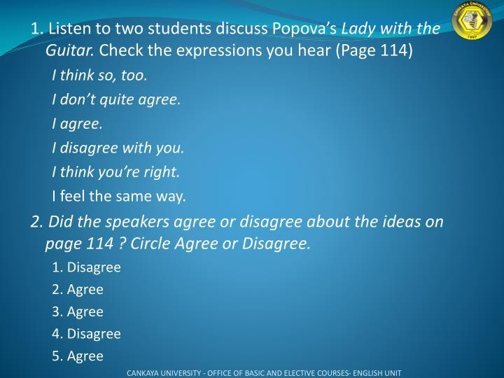 1. Listen to two students discuss Popova's